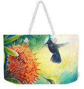 Antillean Crested Hummingbirds And Ixora Weekender Tote Bag