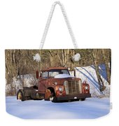 Antique Grungy Truck In Snow Weekender Tote Bag