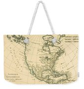 Antique Map Of North America Weekender Tote Bag