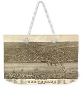 Antique Maps - Old Cartographic Maps - Antique Birds Eye View Map Of Cleveland, Ohio, 1877 Weekender Tote Bag