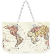 Antique Maps - Old Cartographic Maps - Antique Map Of The Eastern And Western Hemisphere, 1850 Weekender Tote Bag