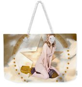 Antique Pin-up Girl On Missile. Bombshell Blond Weekender Tote Bag