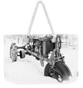 Antique Steel Wheel Tractor Black And White Weekender Tote Bag