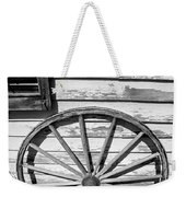 Antique Wagon Wheel In Black And White Weekender Tote Bag