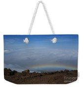 Anuenue - Rainbow At The Ahinahina Ahu Haleakala Sunrise Maui Hawaii Weekender Tote Bag by Sharon Mau