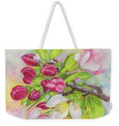 Apple Blossom Buds On A Greeting Card Weekender Tote Bag