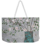 Apple Blossoms In Turquoise Vase Weekender Tote Bag