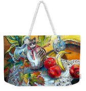 Apple Cat Weekender Tote Bag