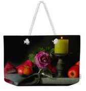 Apples Rose And Candlestick On Tray Stl712923 Weekender Tote Bag