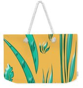 Aqua Design On Gold Weekender Tote Bag