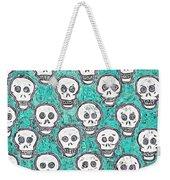 Aqua Skull Pattern Weekender Tote Bag