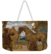 Arabian Stallion Led By Two Arabians To Breed Weekender Tote Bag