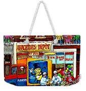 Arachides Depot Candy Shop Painting Rue De L'eglise Verdun Montreal Hockey Art Carole Spandau        Weekender Tote Bag