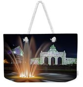Arcade Du Cinquantenaire Fountain At Night - Brussels Weekender Tote Bag by Barry O Carroll