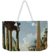 Architectural Capriccio With A Preacher In The Ruins Weekender Tote Bag