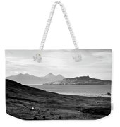 Ardnamurchan Landscape Toward The Islands Of Eigg And Rhum.    Black And White Weekender Tote Bag