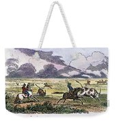 Argentina: Gauchos, 1853. Gauchos Catching Cattle On The Argentine Pampas. Wood Engraving, American, 1853 Weekender Tote Bag