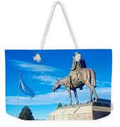 Argentinian Flag And Julio Roca-1843 To 1914-sculpture In Central Park In Bariloche-argentina  Weekender Tote Bag