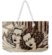 Arielle And Gabrielle In Sepia Tone Weekender Tote Bag