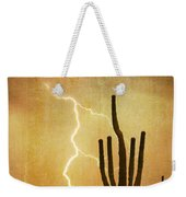 Arizona Saguaro Lightning Strike Poster Print Weekender Tote Bag