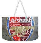 Arsenal Football Team Emblem Recycled Vintage Colorful License Plate Art Weekender Tote Bag