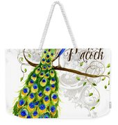Art Nouveau Peacock W Swirl Tree Branch And Scrolls Weekender Tote Bag