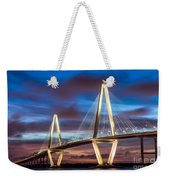 Arthur Ravenel Bridge At Night Weekender Tote Bag