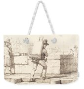 Artist Carrying Easel With A Lithographic Stone Weekender Tote Bag