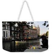 Artist On Amsterdam Canal Weekender Tote Bag