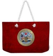U. S. Army Seal Over Red Velvet Weekender Tote Bag