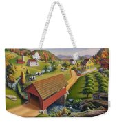 Folk Art Covered Bridge Appalachian Country Farm Summer Landscape - Appalachia - Rural Americana Weekender Tote Bag