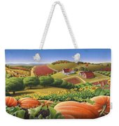 Farm Landscape - Autumn Rural Country Pumpkins Folk Art - Appalachian Americana - Fall Pumpkin Patch Weekender Tote Bag