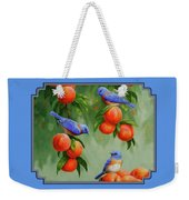 Bird Painting - Bluebirds And Peaches Weekender Tote Bag by Crista Forest