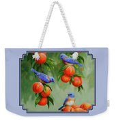 Bird Painting - Bluebirds And Peaches Weekender Tote Bag