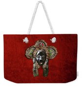 Dan Dean-gle Mask Of The Ivory Coast And Liberia On Red Velvet Weekender Tote Bag by Serge Averbukh
