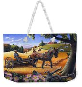 Raking Hay Field Rustic Country Farm Folk Art Landscape Weekender Tote Bag