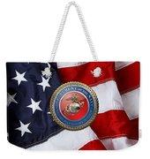 U. S. Marine Corps - U S M C Seal Over American Flag. Weekender Tote Bag