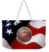 U S M C Emblem Over American Flag Weekender Tote Bag
