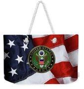U. S. Army Emblem Over American Flag. Weekender Tote Bag
