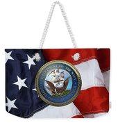 U. S.  Navy  -  U S N Emblem Over American Flag Weekender Tote Bag