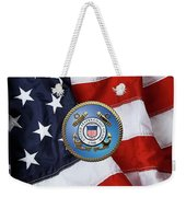 U. S. Coast Guard - U S C G Emblem Over American Flag Weekender Tote Bag