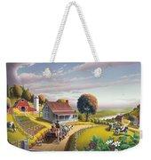 Appalachian Blackberry Patch Rustic Country Farm Folk Art Landscape - Rural Americana - Peaceful Weekender Tote Bag