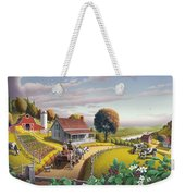 Appalachian Blackberry Patch Rustic Country Farm Folk Art Landscape - Rural Americana - Peaceful Weekender Tote Bag