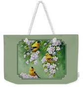 American Goldfinches And Apple Blossoms Weekender Tote Bag
