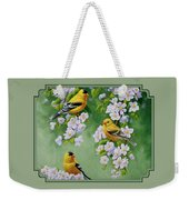 American Goldfinch Spring Weekender Tote Bag by Crista Forest