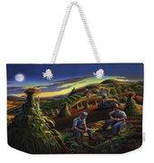 Autumn Farmers Shucking Corn Appalachian Rural Farm Country Harvesting Landscape - Harvest Folk Art Weekender Tote Bag