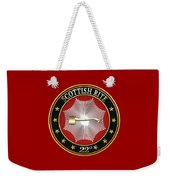 22nd Degree - Knight Of The Royal Axe Jewel On Red Leather Weekender Tote Bag