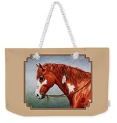 Native American War Horse Weekender Tote Bag by Crista Forest