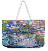 White Flower Abstract Weekender Tote Bag