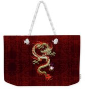 Golden Chinese Dragon Fucanglong On Red Silk Weekender Tote Bag